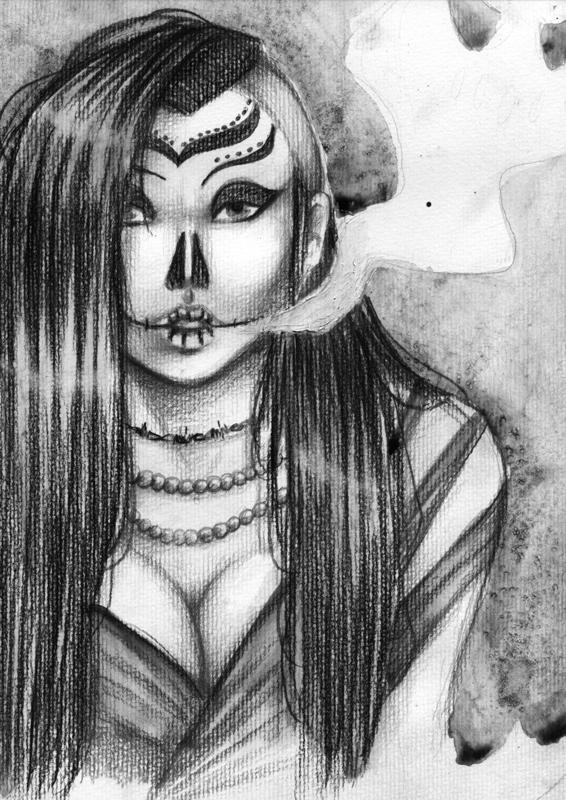 Dessin dia de los muertos fallengodess - Dessin sombre ...