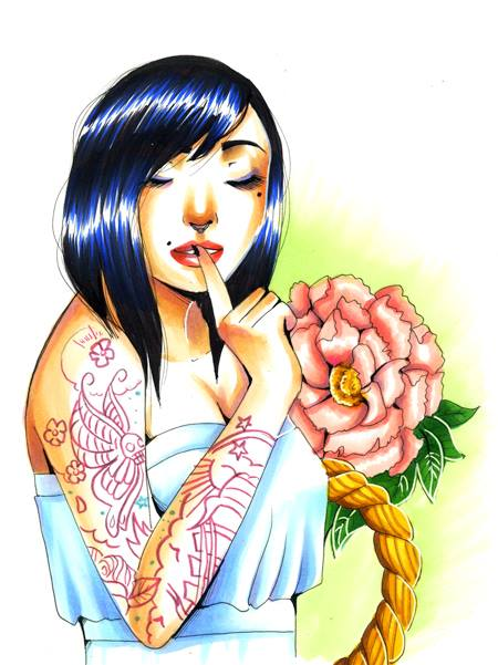 tattoed girl copic